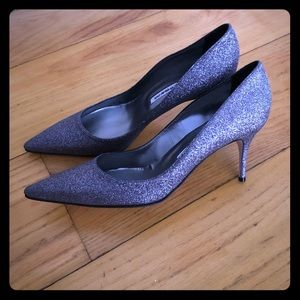 Manolo Blahnik new metallic silver Bb 80 glitter